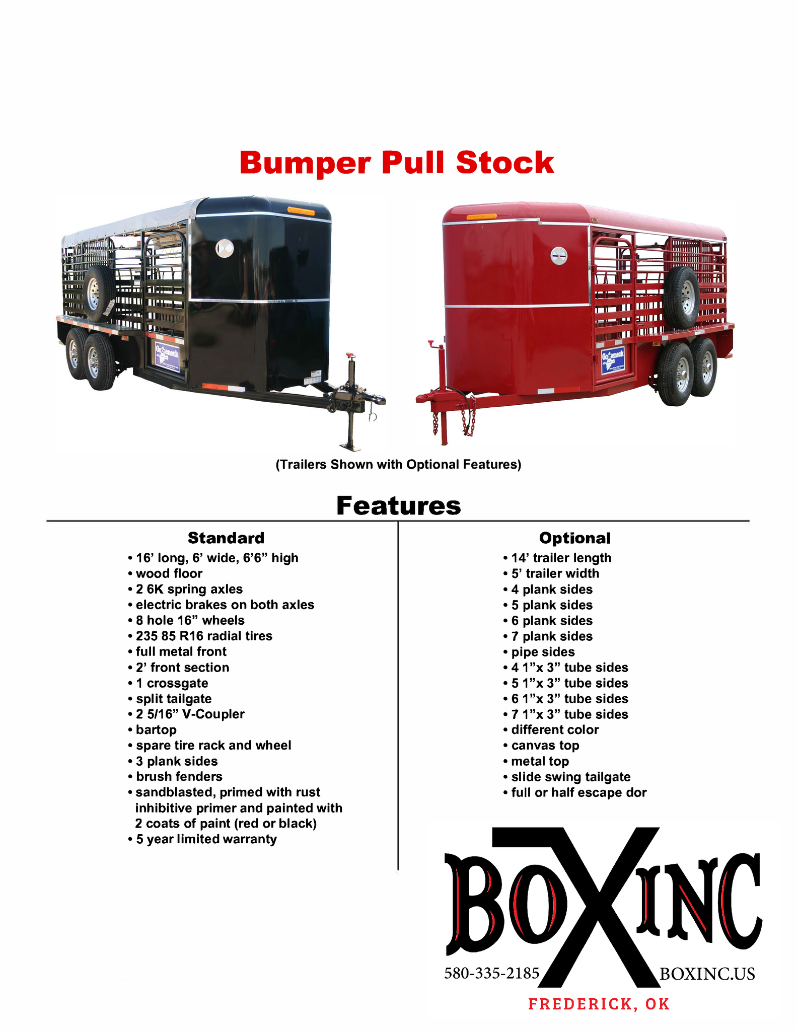 Bumper Pull Trailer Features