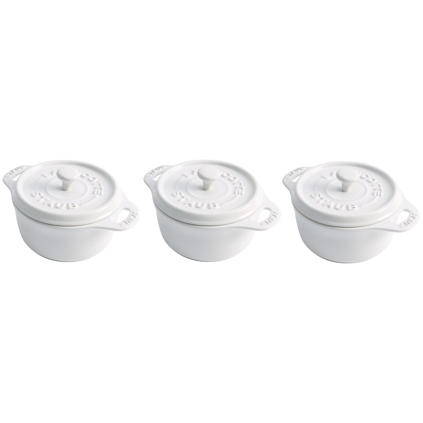 3pc Mini Round Cocotte Set - White