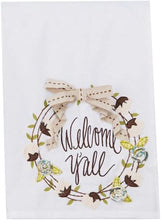 "Load image into Gallery viewer, ""Welcome Y'all"" Tea Towel"