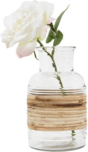 Glass Vase with Rattan