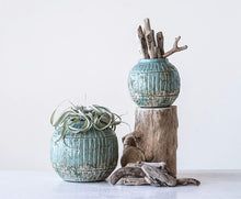 Load image into Gallery viewer, Distressed Turquoise Planter