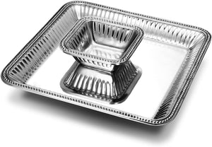 2pc Pewter Chip & Dip Set