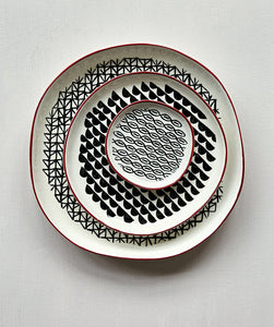 3pc Stoneware Plate Set - Black & White