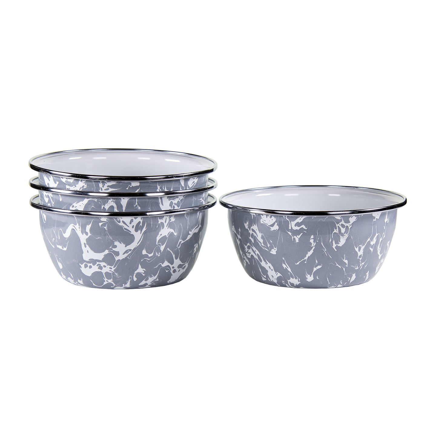 4pc Enamel Salad Bowl Set - Grey