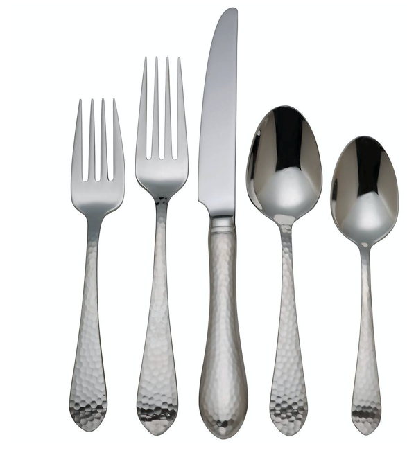 5pc Hammered Flatware