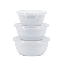 Load image into Gallery viewer, 3pc Enamel Nesting Bowl Set - White