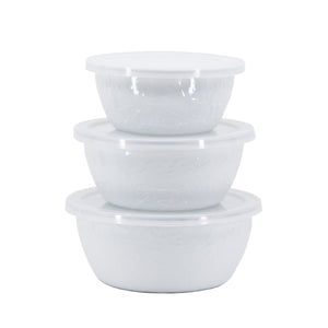 3pc Enamel Nesting Bowl Set - White