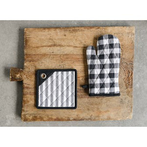 Gingham Hot Mitt - Black