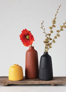 3pc Stoneware Vase Set
