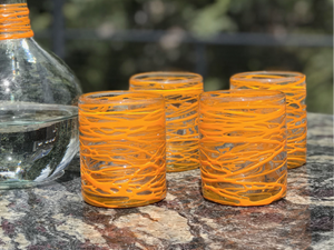Handblown Glasses - Orange
