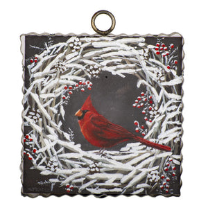 Snow Wreath Cardinal Charm