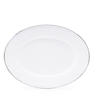 Enamel Oval Tray - White