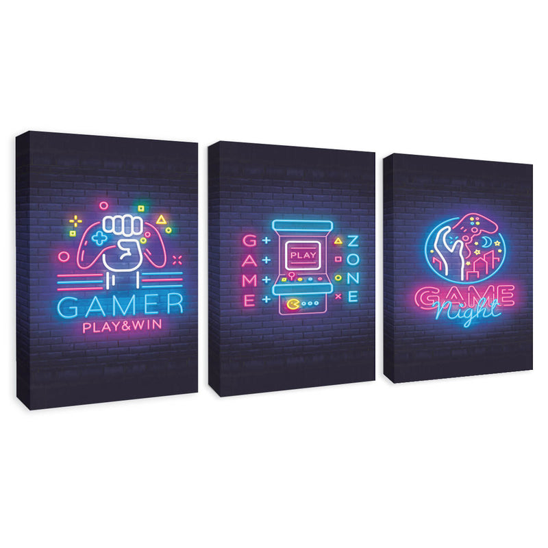 Set 3 pzas Cuadro Canvas Decorativo 40x60 Gamer Zone Night