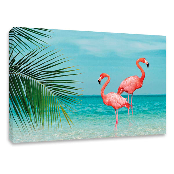Cuadro Decorativo Flamingos Playa