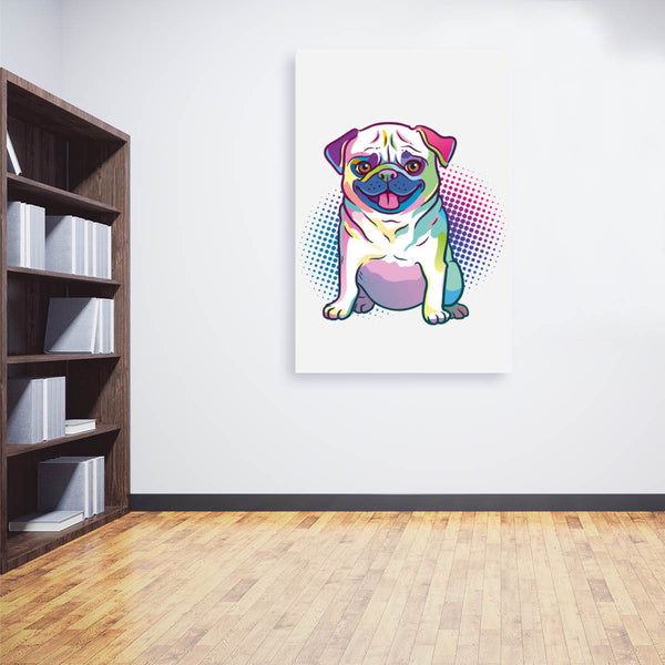 Cuadro Decorativo Pug Mascota Dibujo animado Pop Art