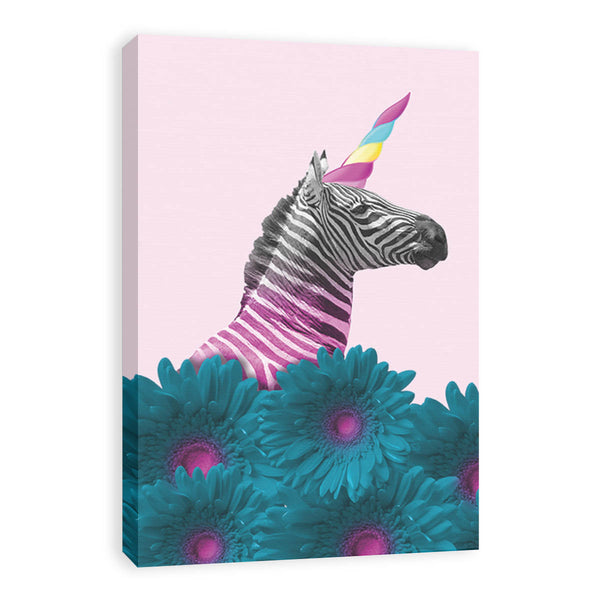 Cuadro Decorativo Zebra Unicornio Pop Art