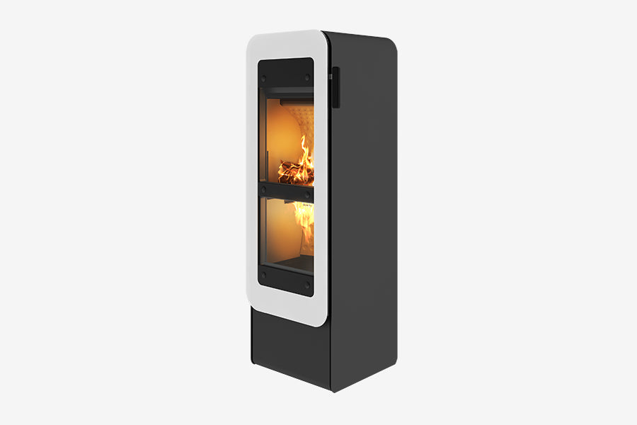 Bionic Fire Freestanding Wood Fire White Glass