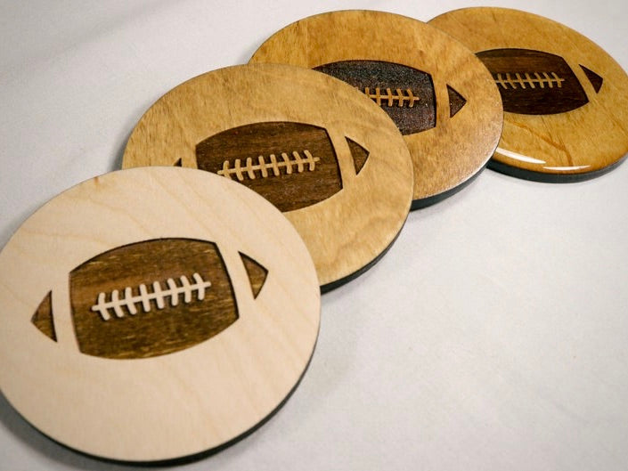 Football Wood Coaster Set