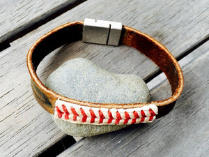 Magnetic Clasp Baseball Glove Leather Bracelet