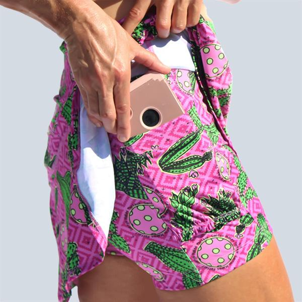 PICKLEBALL CACTUS MAKES PERFECT 2 DROP-PLEAT SKORT