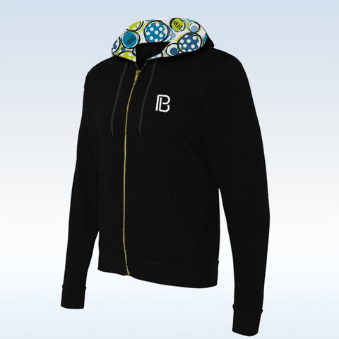 Pickleball Bella Black Dink 1 Full-Zip Hoodie