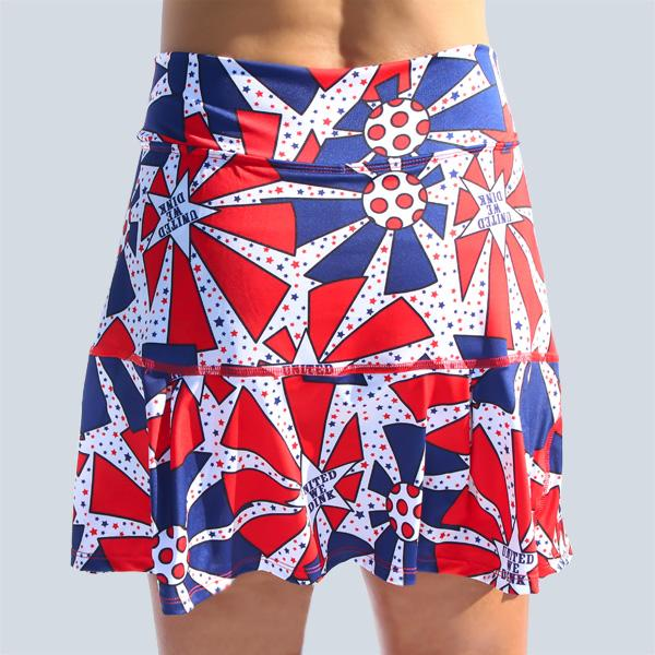 PICKLEBALL  UNITED WE DINK DROP-PLEAT SKORT