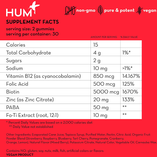 HUM: HAIR SWEET HAIR - 1 month (60ct) - Gummies Of Life