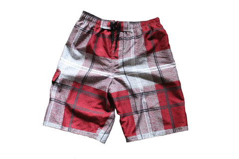 Burnside Junior Plaid Board Shorts (Red)
