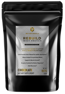 Black bag of chocolate whey protein powder