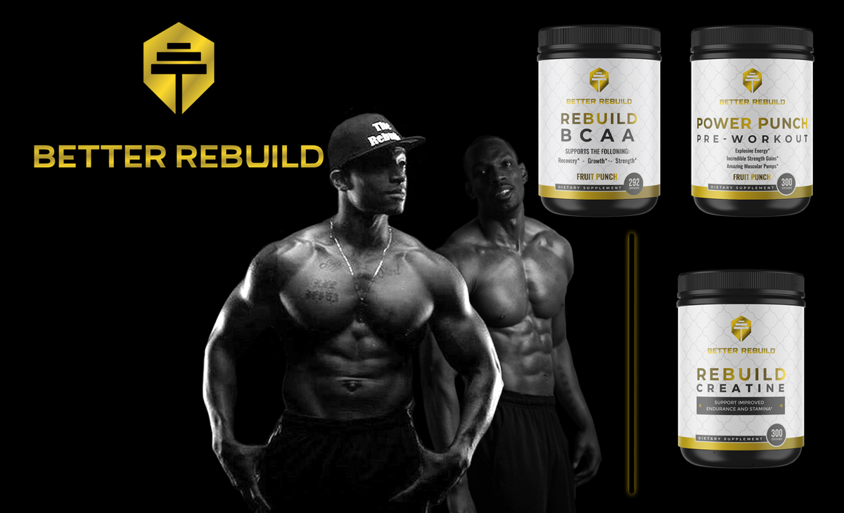Photo of two men standing with 3 containers of protein powder and gold better rebuild logo