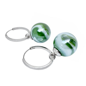Green and white 16mm blown-glass marble with 20mm sterling silver creol hoop