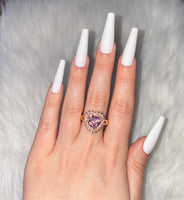 Pink Heart Baguette Ring