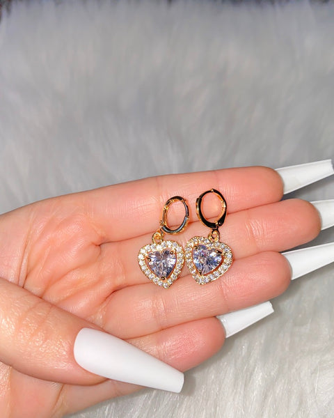 Icy Heart Dangle Earrings