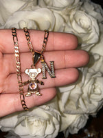 Birthstone And Initial Necklace (1 Kid/No Ball)