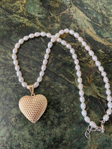 Freshwater Pearl Heart Locket