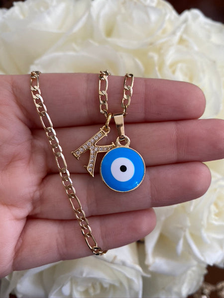Icy Eye & Initial Necklace