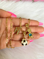 Soccer Ball, Initial, And Birthstone Necklace