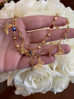 Butterfly And Eye Anklet/Bracelet With Initial