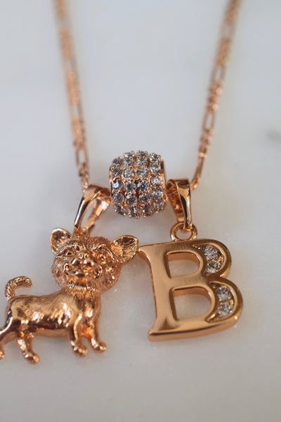 Gold Plated Chihuahua And Initial Necklace