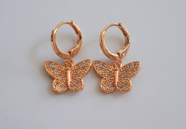 Rose Gold Plated Diamond Inspired Butterfly Dangle Earrings