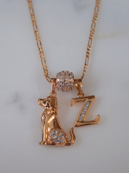 Yellow Or White Gold Plated Diamond Inspired Dog And Letter Necklace