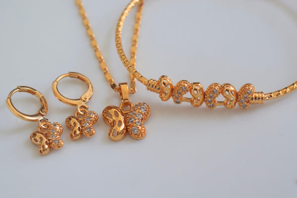 Gold Plated Kids Or Adult Butterfly Jewelry Set- Also Sold Separately