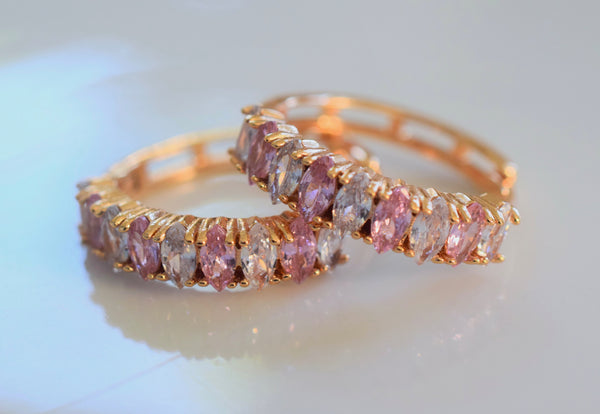 Pink Marquise Small Hoops And/Or Bands
