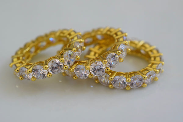 Yellow Gold Plated Diamond Inspired Eternity Band