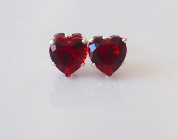 Sterling Silver Garnet Inspired Heart Studs