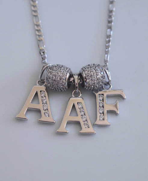 White Gold Plated Diamond Inspired 2 to 6 Initial Necklace