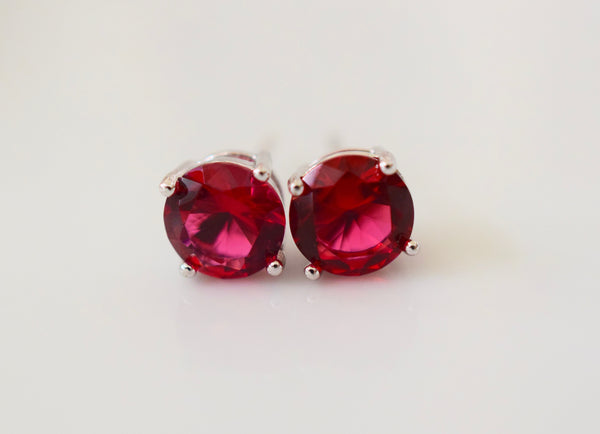 White Gold Plated Ruby Inspired Studs