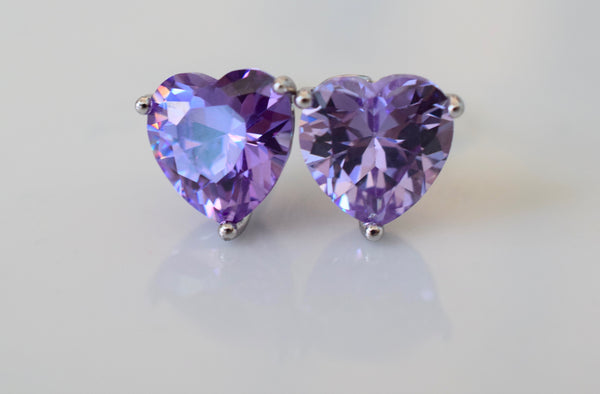 White Gold Plated Amethyst Inspired Heart Studs With Beautiful Detailing
