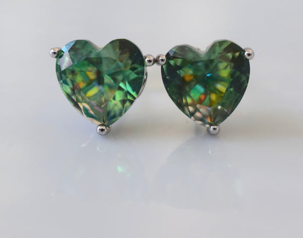 Large Heart Shape Green Studs With Beautiful Detailing