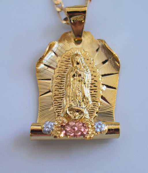 Tri-Color Gold Dipped Floral Virgin Mary Necklace